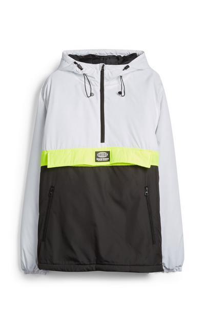 White And Black Colourblock Waterproof Hoodie