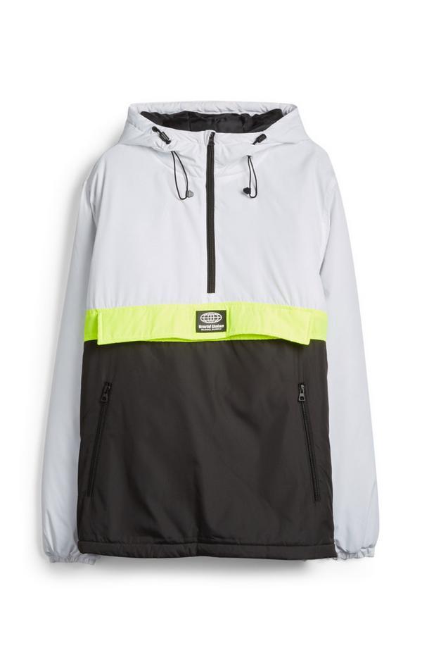 White And Black Colorblock Waterproof Hoodie