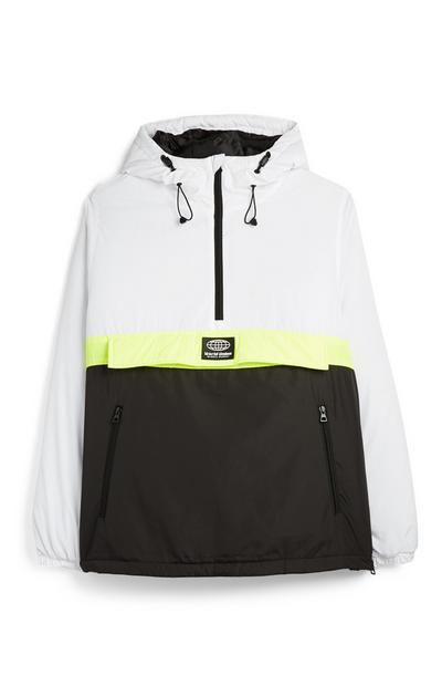 White And Black Neon Stripe Padded Colorblock Jacket