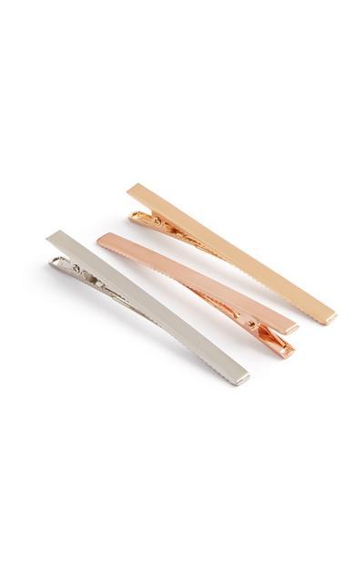 Haarklammern in Metallic-Optik, 3er-Pack