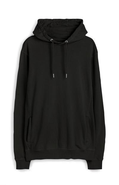 Črn vrhunski pulover s kapuco