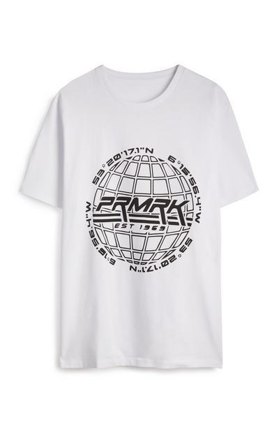 T-shirt bianca con scritta PRMRK
