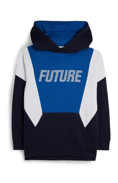 Older Boy Slogan Color Block Hoodie