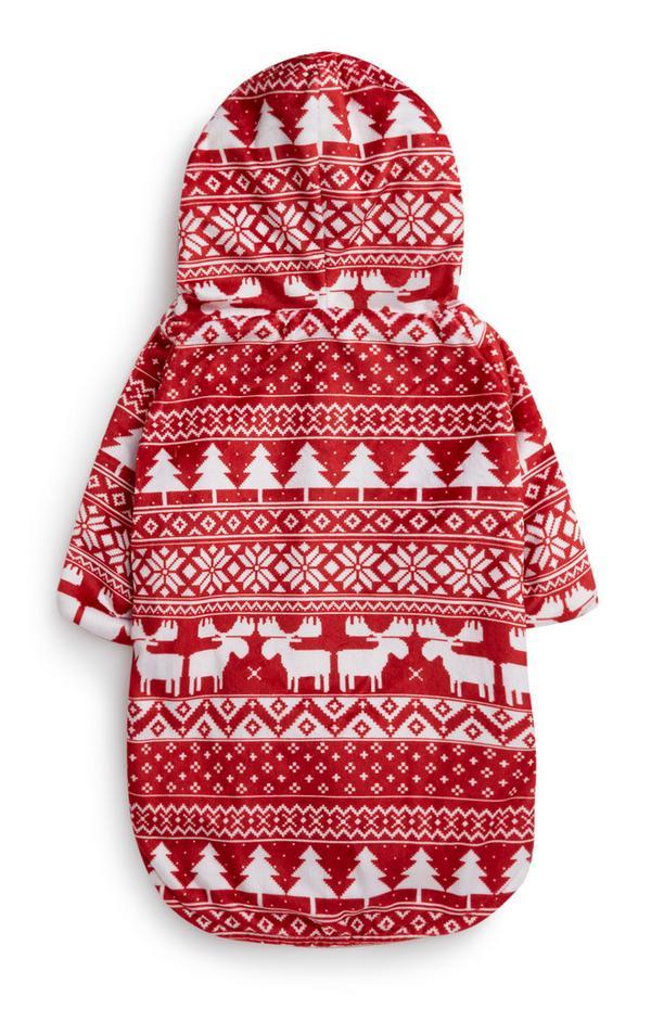 Costume rosso per cane Fair Isle