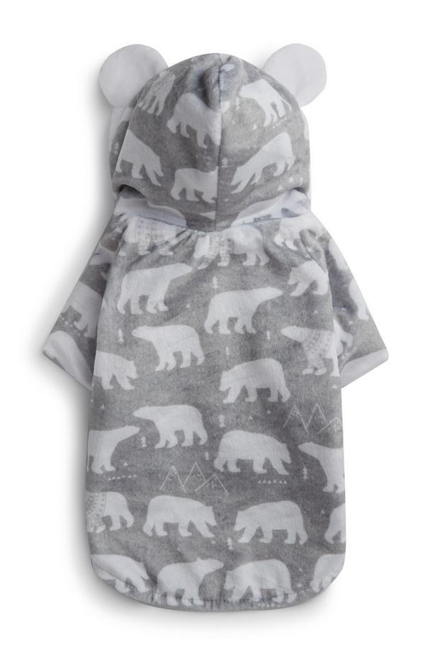 Costume grigio per cane da orso polare con orecchie