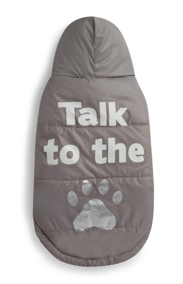 """Hunde-Outfit mit """"Talk to the Paw""""-Motiv, hellbraun"""