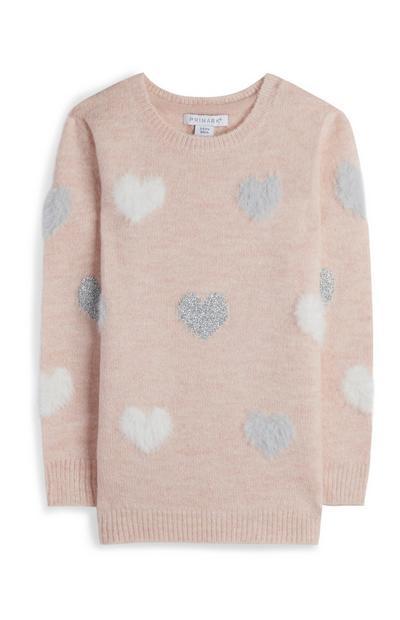 Flauschiger Pullover in Rosé mit Herzmuster (kleine Mädchen)