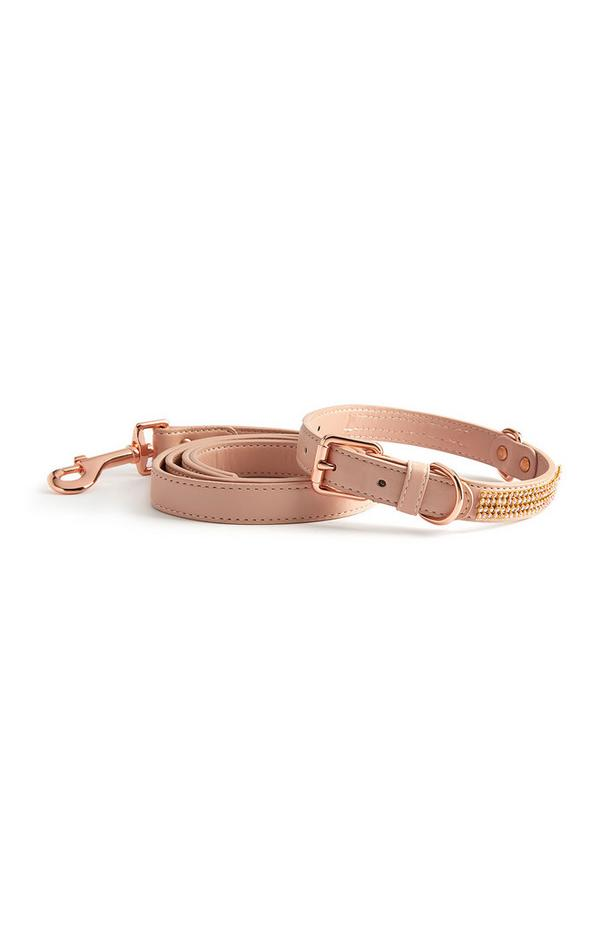 Conjunto coleira/trela cão brilhantes cor-de-rosa