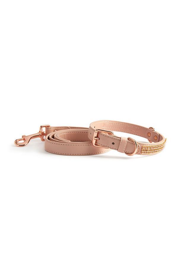 Komplet rožnate diamantne pasje ovratnice in povodca za psa