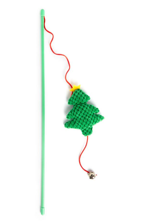 Green Christmas Tree Cat Stick Toy