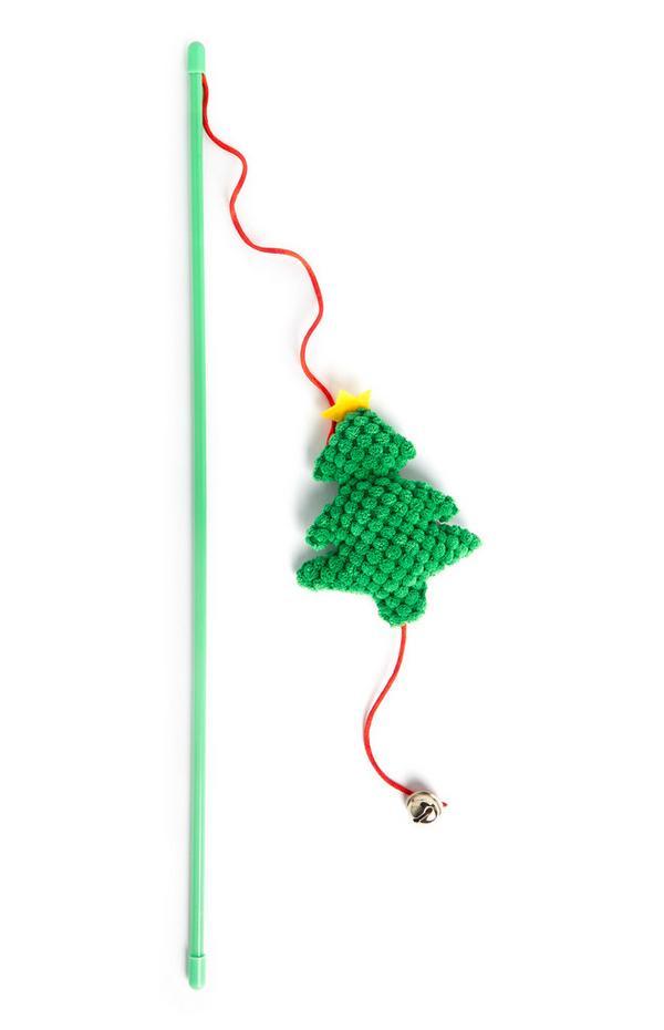 Giocattolo verde per gatto con bastoncino e albero di Natale
