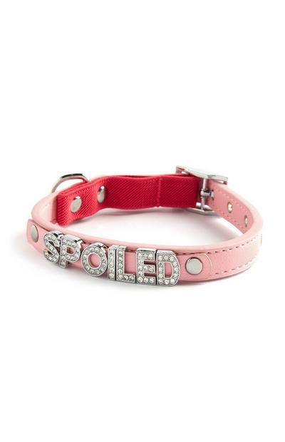 Collar rosa para gatos con strass