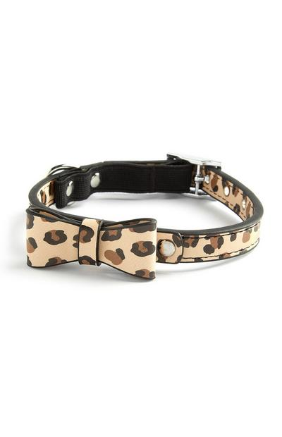 Brown Leopard Print Bow Cat Collar