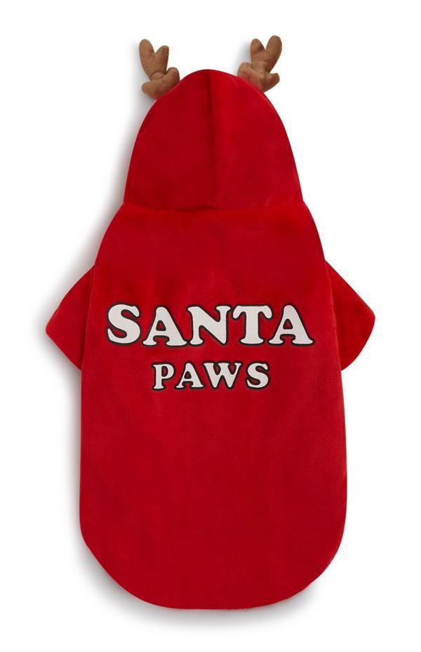 Costume rosso per cane Santa Paws con corna di renna