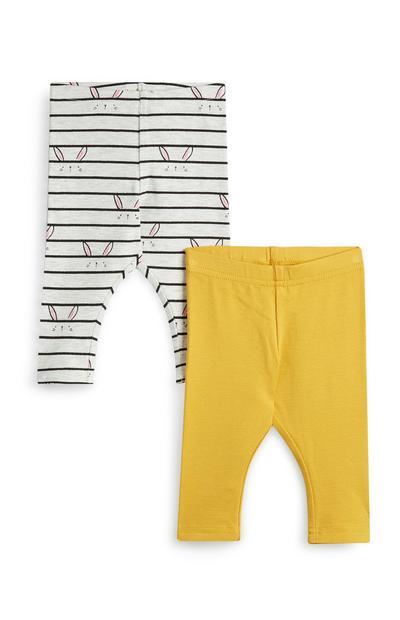 Baby Girl Yellow And White Bunny Print Leggings 2Pk