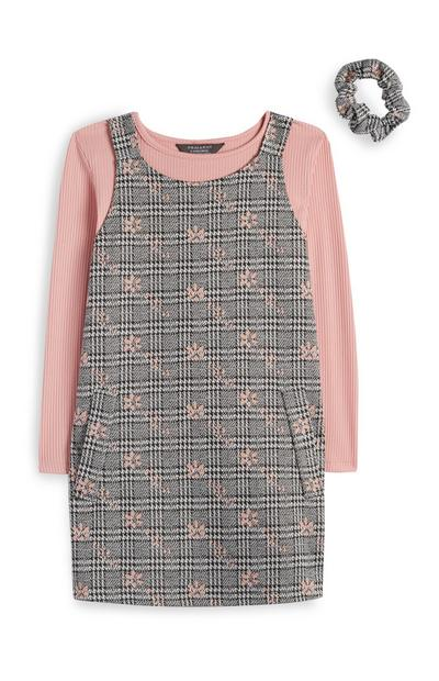 Younger Girl Pink And Gray Check Pinafore With Matching Scrunchie