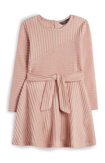 Vestido canelado cinto menina rosa-pálido