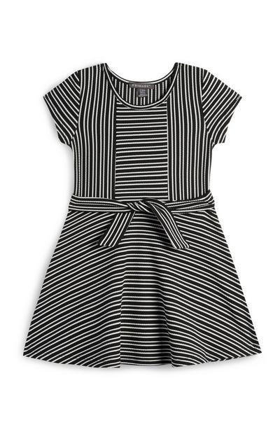 Schwarz-weiß gestreiftes Kleid mit Zierknoten (kleine Mädchen)