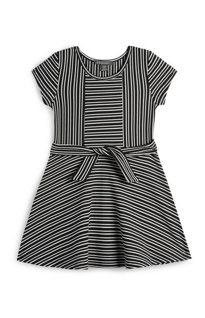 Younger Girl Black And White Striped Front Tie Dress