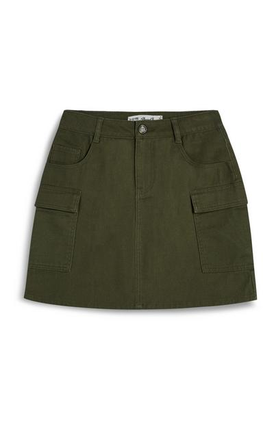 Younger Girl Khaki Cargo Skirt