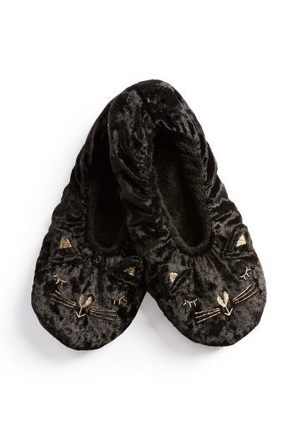 Black Cat Slipper Socks
