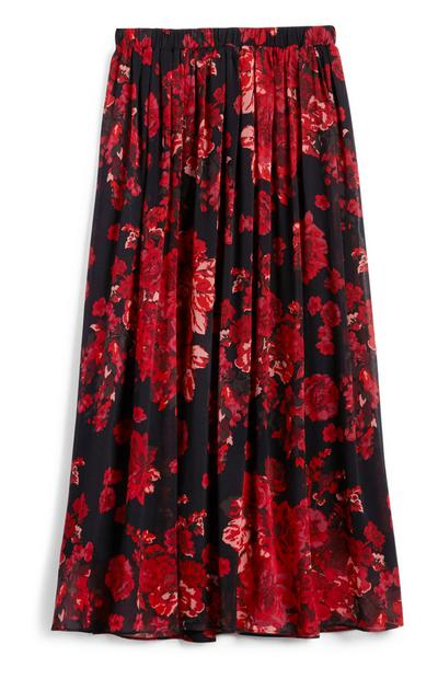 Saia midi chiffon padrão floral