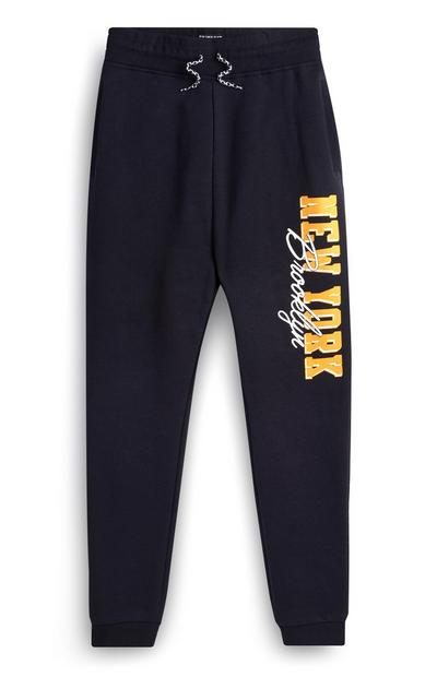 Older Boy Navy Printed Slogan Jogger