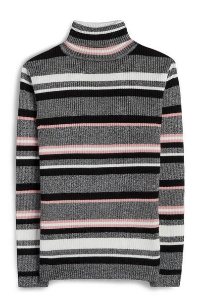 Grijze gestreepte trui met rolkraag voor meiden