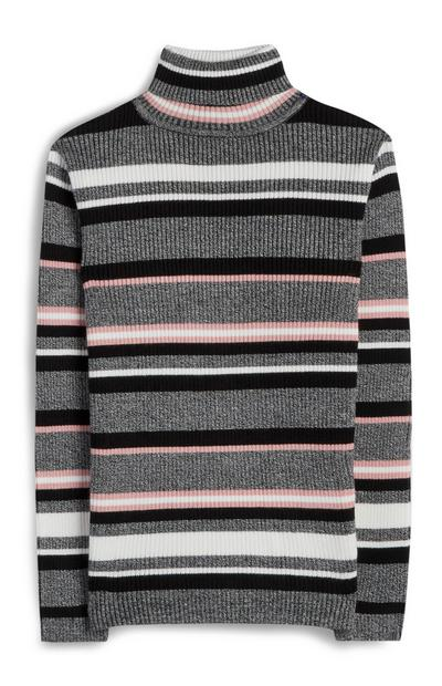 Older Girl Grey Roll Neck Striped Jumper