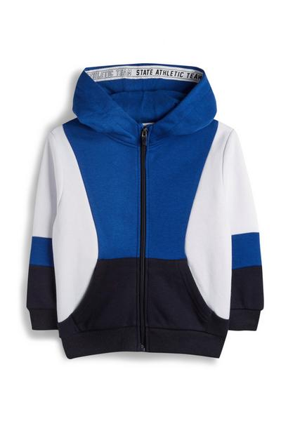 Younger Boy Block Colour Zip Up Hoodie