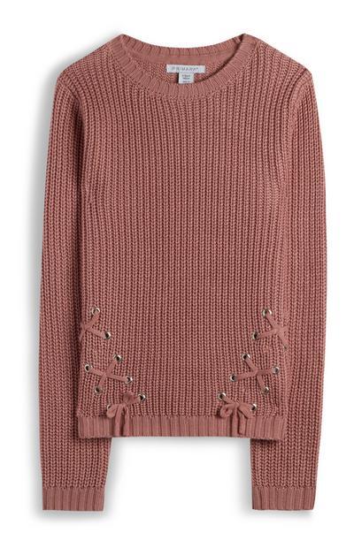 Lichtbruine ribstoffen trui voor meiden