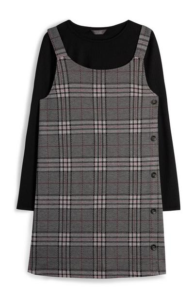Older Girl Grey Check Side Button Pinafore And Black T-Shirt