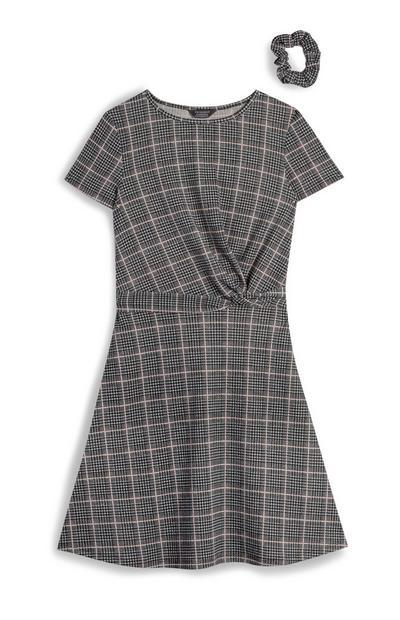 Older Girl Gray Twist Dress with Matching Scrunchie
