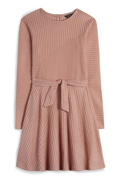 Older Girl Blush Ribbed Dress With Front Tie