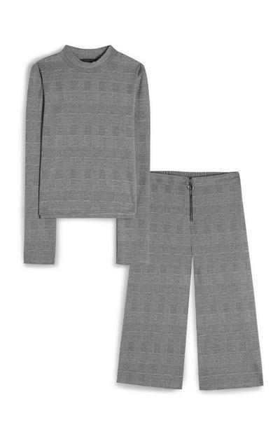 T-shirt gris à carreaux et jupe-culotte en velours côtelé ado