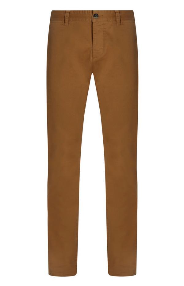 Bruine slim-fit chinobroek met stretch