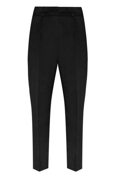 Pantalón de pinzas de satén negro