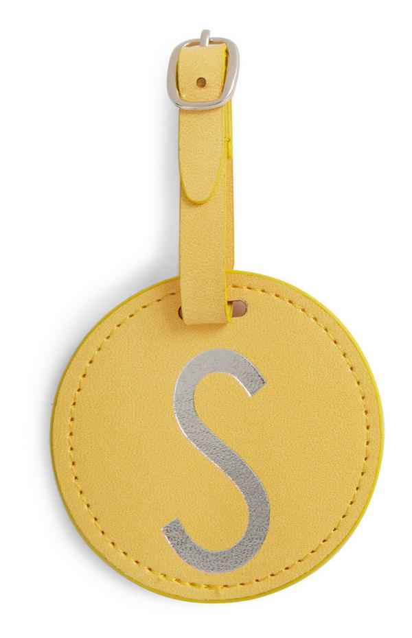 Yellow Initial Luggage Tag
