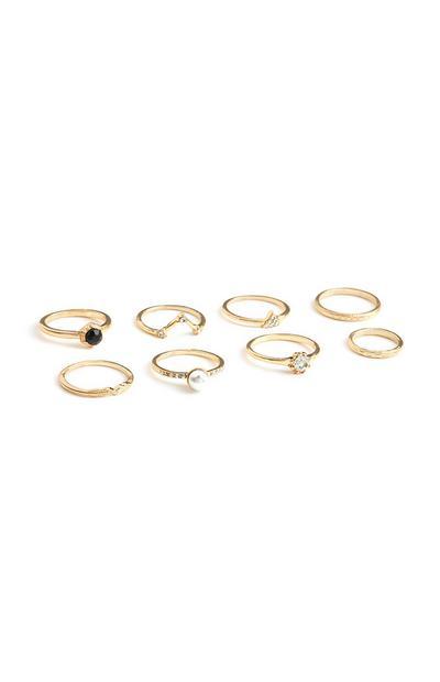 Gele ringen met stras, set van 8