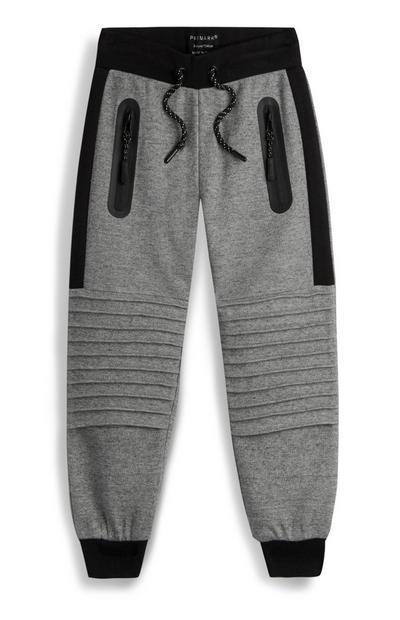 Younger Boy Grey Textured Jogger