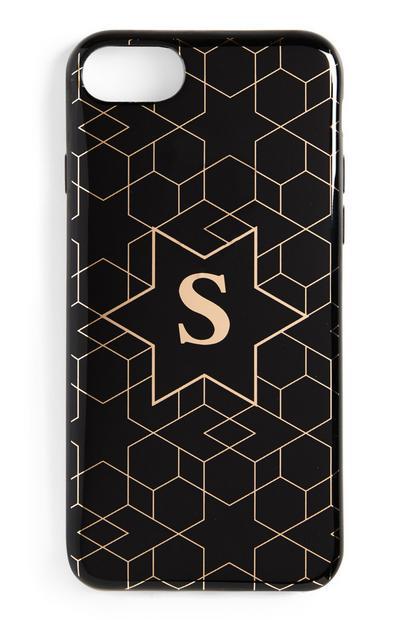 Carcasa negra con inicial para móvil
