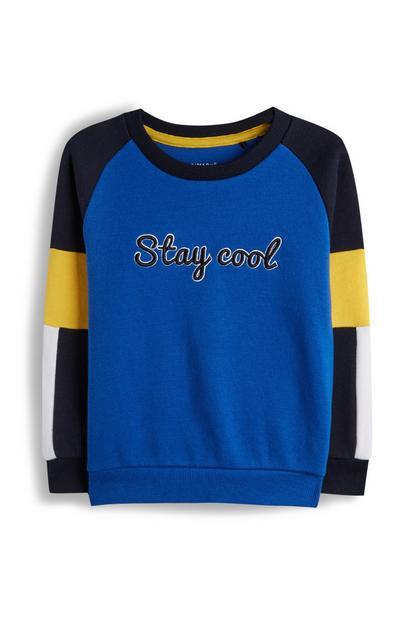 Sweatshirt met tekst en kleurvlakken voor jongens