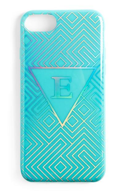 Coque de téléphone bleue à initiale