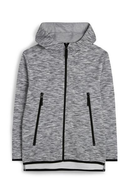 Grijsgemêleerde hoodie met rits voor oudere jongens