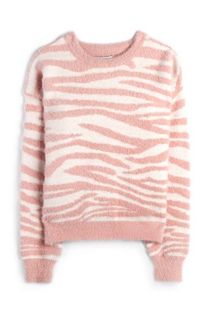 Pluizige roze-witte trui met tijgerprint voor meiden