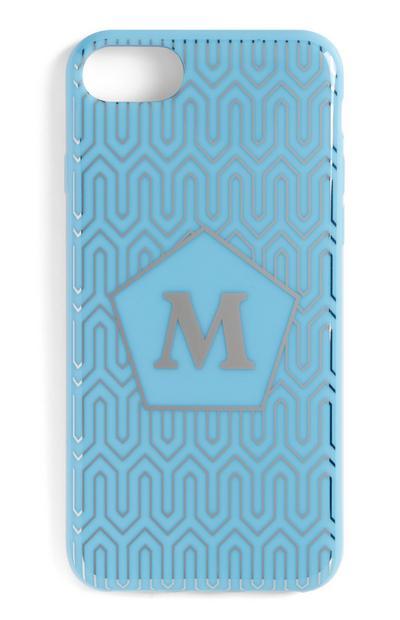 Carcasa azul con inicial para móvil