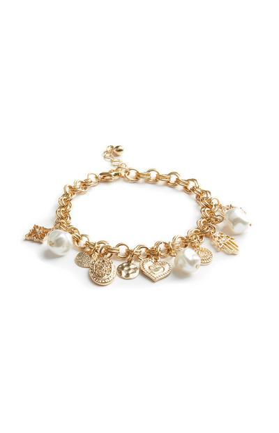 Braccialetto con ciondoli e perle