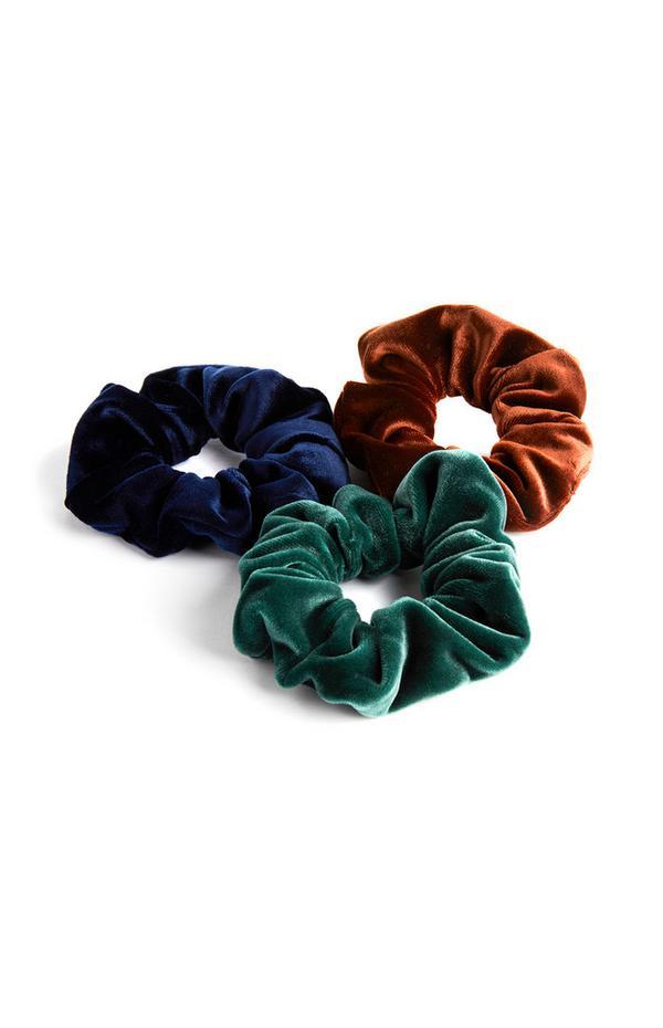 Blue Green And Brown Velvet Scrunchies 3Pk