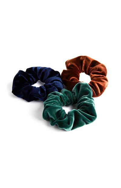 Pack 3 elásticos cabelo veludo azul/verde/castanho