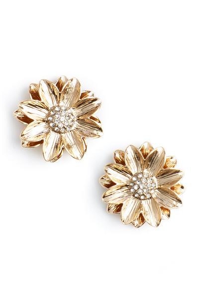 Zlati kovinski cvetlični uhani z diamanti